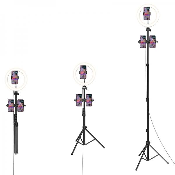 Кольцевая светодиодная лампа напольная Hoco LV02 Aesthetic Light stream holder на штативе с держателями на 3-и смартфона Черный