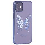 Чехол-накладка KINGXBAR для iPhone 12 mini (5.4) пластик со стразами Swarovski синий (Бабочка)