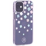 Чехол-накладка KINGXBAR для iPhone 12 mini (5.4) пластик со стразами Swarovski прозрачная с силиконовыми бортами (Цветы 3)