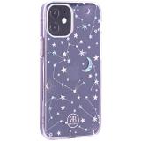 Чехол-накладка KINGXBAR для iPhone 12 mini (5.4) пластик со стразами Swarovski прозрачная с силиконовыми бортами (Звезды)