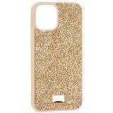 Чехол-накладка силиконовая со стразами SWAROVSKI Crystalline для iPhone 12 / 12 Pro (6.1) Золотой