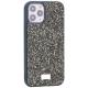 Чехол-накладка силиконовая со стразами SWAROVSKI Crystalline для iPhone 12 / 12 Pro (6.1) Темно-зеленый