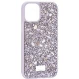 Чехол-накладка силиконовая со стразами SWAROVSKI Crystalline для iPhone 12 mini (5.4) Светло-серый №2
