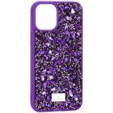 Чехол-накладка силиконовая со стразами SWAROVSKI Crystalline для iPhone 12 mini (5.4) Ульрафиолет