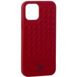 Накладка кожаная Santa Barbara Polo&Racquet Club Ravel Series для iPhone 12 / 12 Pro (6.1) Красная