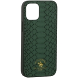 Накладка кожаная Santa Barbara Polo&Racquet Club Knight Series для iPhone 12 mini (5.4) Зеленая
