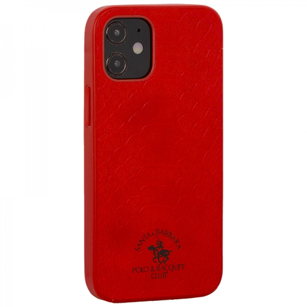 Накладка кожаная Santa Barbara Polo&Racquet Club Knight Series для iPhone 12 mini (5.4) Красная