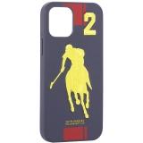 Накладка кожаная Santa Barbara Polo&Racquet Club SPGNE Series для iPhone 12 / 12 Pro (6.1) Синяя