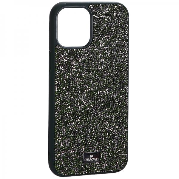 Чехол-накладка силиконовая со стразами SWAROVSKI Crystalline для iPhone 12 Pro Max (6.7) Темно-зеленый