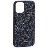 Чехол-накладка силиконовая со стразами SWAROVSKI Crystalline для iPhone 12 mini (5.4) Темно-синий №3