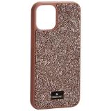 Чехол-накладка силиконовая со стразами SWAROVSKI Crystalline для iPhone 12 mini (5.4) Светло-коричневый №3