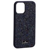 Чехол-накладка силиконовая со стразами SWAROVSKI Crystalline для iPhone 12 mini (5.4) Темно-синий №5