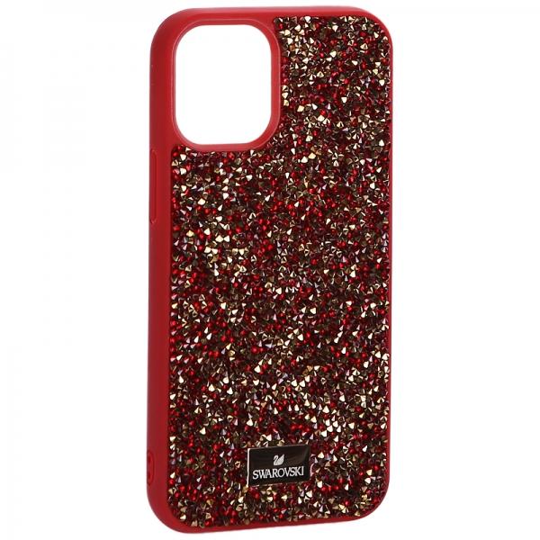Чехол-накладка силиконовая со стразами SWAROVSKI Crystalline для iPhone 12 mini (5.4) Красный №2