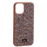 Чехол-накладка силиконовая со стразами SWAROVSKI Crystalline для iPhone 12 mini (5.4) Светло-коричневый