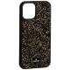 Чехол-накладка силиконовая со стразами SWAROVSKI Crystalline для iPhone 12 mini (5.4) Черно-золотой