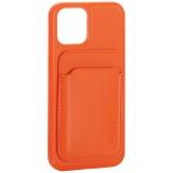 Чехол-накладка кожаный Mutural для Iphone 12 / 12 Pro (6.1) с бумажником MagSafe Оранжевый