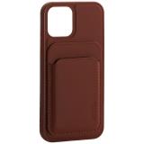Чехол-накладка кожаный Mutural для Iphone 12 / 12 Pro (6.1) с бумажником MagSafe Коричневый