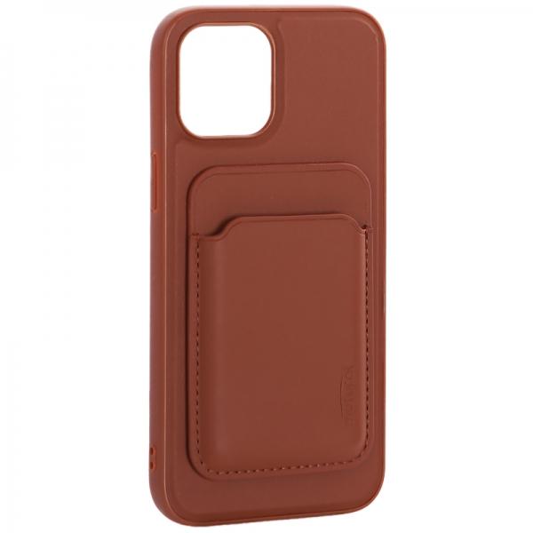 Чехол-накладка кожаный Mutural для Iphone 12 Pro Max (6.7) с бумажником MagSafe Коричневый