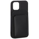 Чехол-накладка кожаный Mutural для Iphone 12 mini (5.4) с бумажником MagSafe Черный