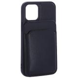 Чехол-накладка кожаный Mutural для Iphone 12 mini (5.4) с бумажником MagSafe Синий