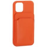 Чехол-накладка кожаный Mutural для Iphone 12 mini (5.4) с бумажником MagSafe Оранжевый