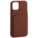 Чехол-накладка кожаный Mutural для Iphone 12 mini (5.4) с бумажником MagSafe Коричневый