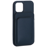 Чехол-накладка кожаный Mutural для Iphone 12 mini (5.4) с бумажником MagSafe Зеленый