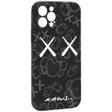 Чехол-накладка силикон Luxo для iPhone 12 Pro (6.1) 0.8мм с флуоресцентным рисунком KAWS Черный KS-23