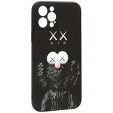 Чехол-накладка силикон Luxo для iPhone 12 Pro (6.1) 0.8мм с флуоресцентным рисунком KAWS Черный KS-13