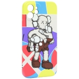 Чехол-накладка силикон Luxo для iPhone 12 (6.1) 0.8мм с флуоресцентным рисунком KAWS J40