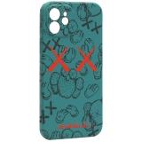 Чехол-накладка силикон Luxo для iPhone 12 (6.1) 0.8мм с флуоресцентным рисунком KAWS Зеленый KS-22