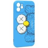 Чехол-накладка силикон Luxo для iPhone 12 (6.1) 0.8мм с флуоресцентным рисунком KAWS Синий KS-26