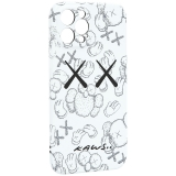Чехол-накладка силикон Luxo для iPhone 12 Pro Max (6.7) 0.8мм с флуоресцентным рисунком KAWS Белый KS-24
