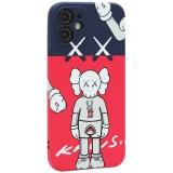 Чехол-накладка силикон Luxo для iPhone 12 mini (5.4) 0.8мм с флуоресцентным рисунком KAWS J44