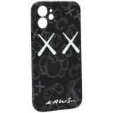 Чехол-накладка силикон Luxo для iPhone 12 mini (5.4) 0.8мм с флуоресцентным рисунком KAWS Черный KS-23
