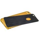 Алюминиевый бампер + кожаная накладка для iPhone 6S Plus Jisoncase (JS - I6L - 08P84 + JS - I6L - 14A10), цвет золотистый и черный